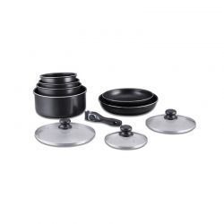 Σετ Μαγειρικής Herzberg 10 τμχ Χρώματος Μαύρο HG-5000