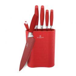 Σετ Μαχαιριών Blaumann 7 τμχ με Επιτραπέζια Βάση Red BL-2074