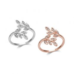 Δαχτυλίδι με Σχέδιο Φύλλο Philip Jones με Κρύσταλλα Swarovski®