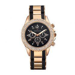 Γυναικείο Ρολόι Χρώματος Ροζ-Χρυσό και Μαύρο με Μεταλλικό Δίχρωμο Μπρασελέ και Κρύσταλλα Swarovski® Timothy Stone A-034-RGBK