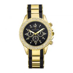 Γυναικείο Ρολόι Χρώματος Χρυσό-Μαύρο με Μεταλλικό Δίχρωμο Μπρασελέ και Κρύσταλλα Swarovski® Timothy Stone A-036-GDBK