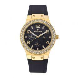 Γυναικείο Ρολόι Χρώματος Χρυσό με Μαύρο Λουράκι Σιλικόνης και Κρύσταλλα Swarovski® Timothy Stone F-013-GDBK