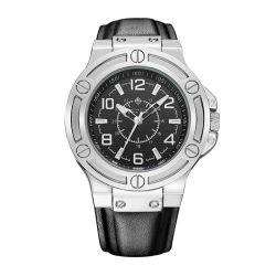 Ανδρικό Ρολόι με Μαύρο Δερμάτινο Λουράκι Timothy Stone M-014-SLBK