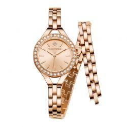 Γυναικείο Ρολόι Χρώματος Ροζ-χρυσό με Μεταλλικό Μπρασελέ και Κρύσταλλα Swarovski® Timothy Stone J-011-ALWRG