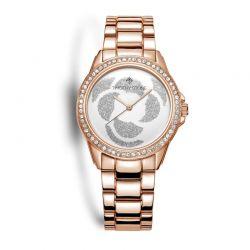Γυναικείο Ρολόι Χρώματος Ροζ-Χρυσό με Μεταλλικό Μπρασελέ και Κρύσταλλα Swarovski® Timothy Stone K-011-ALRG