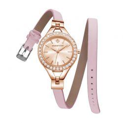 Γυναικείο Ρολόι Χρώματος Ροζ-Χρυσό με Δερμάτινο Ροζ Λουράκι και Κρύσταλλα Swarovski® Timothy Stone J-015-LTWPK
