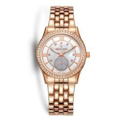 Γυναικείο Ρολόι Χρώματος Ροζ-Χρυσό με Μεταλλικό Μπρασελέ και Κρύσταλλα Swarovski® Timothy Stone H-011-ALRG