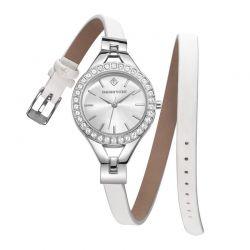 Γυναικείο Ρολόι Χρώματος Γκρι με Δερμάτινο Λευκό Λουράκι και Κρύσταλλα Swarovski® Timothy Stone J-016-LTWSL