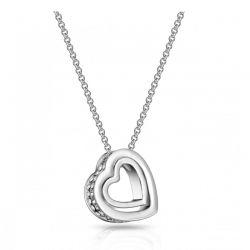 Κολιέ Philip Jones με Κρεμαστό σε Σχήμα Διπλής Καρδιάς Διακοσμημένο με Κρύσταλλα Swarovski®