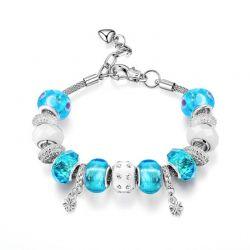 Γυναικείο Βραχιόλι με Charms από Μπλε Γυαλί Murano και Κρύσταλλα Swarovski® Philip Jones MRNBRCLBLU