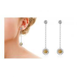 Ασημένια Σκουλαρίκια Philip Jones Με Μαργαρίτες και Κρύσταλλα Swarovski®
