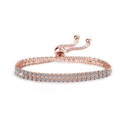 Βραχιόλι Philip Jones Χρώματος Ροζ - Χρυσό με Δύο Σειρές από Κρύσταλλα Swarovski®