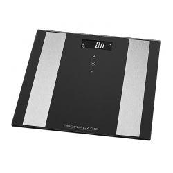 Γυάλινη Ηλεκτρονική Ζυγαριά Μπάνιου Λιπομετρητής 8 σε 1 ProfiCare Χρώματος Μαύρο PC-PW3007