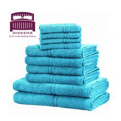 Σετ με 10 Πετσέτες Dickens από 100% Αιγυπτιακό Βαμβάκι Χρώματος Αqua DTOWEL-10AQ