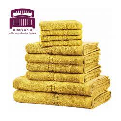 Σετ με 10 Πετσέτες Dickens από 100% Αιγυπτιακό Βαμβάκι Χρώματος Κίτρινο DTOWEL-10YE
