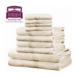 Σετ με 10 Πετσέτες Dickens από 100% Αιγυπτιακό Βαμβάκι Χρώματος Μπεζ DTOWEL-10CR