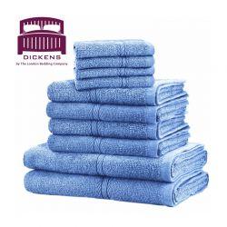 Σετ με 10 Πετσέτες Dickens Από 100% Αιγυπτιακό Βαμβάκι Χρώματος Μπλε DTOWEL-10LBL