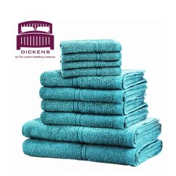 Σετ με 10 Πετσέτες Dickens από 100% Αιγυπτιακό Βαμβάκι Χρώματος Τιρκουάζ DTOWEL-10TE