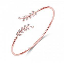 Βραχιόλι Philip Jones σε Σχήμα Φύλλου με Κρύσταλλα Swarovski® Χρώματος Ροζ - Χρυσό